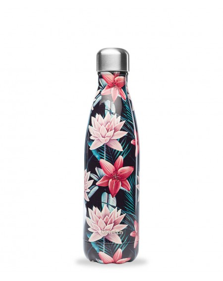 Bottle Tropical Flowers Black- 500ml